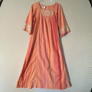Vintage Hawaiian Sunset Lace Maxi Dress Muumuu Kaftan 12